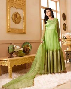Beautiful long anarkali suit for women, get it online for more detail just click on this link http://www.zipker.com/catalog/product/view/_ignore_category/1/id/126689/s/dhrasti-dhami-parrot-green-colored-floor-lenth-anarkali-suit.