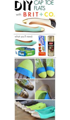 Cap-toe flats are all the rage in Hollywood, and super easy to re-create at home! For today's DIY project you will need ballet flats, painter's tape, spray pain. Shoe Crafts, Fun Crafts, Sewing Crafts, Diy And Crafts, Sewing Tips, Do It Yourself Crafts, Diy Accessories, Diy Clothing, Inspirational Gifts