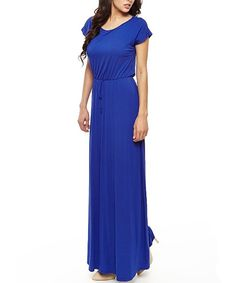 Love this 42POPS Royal Blue Boatneck Maxi Dress by 42POPS on #zulily! #zulilyfinds