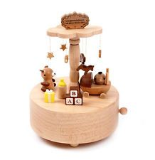This Wooden music box Merry Go Around rotates 360 degrees. Designed with real wood with a one touch stop. Measurement: 20 cm x 25 cm x 25 cm Wooden Baby Toys, Wood Toys, Wooden Music Box, Best Educational Toys, Natural Toys, Gifts For Brother, Gift Quotes, Its A Wonderful Life, Baby Play