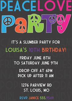 Peace Love Party invite