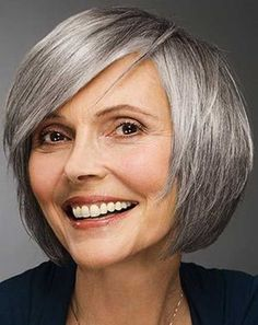 over 50 women with white hair short bob hairstyle
