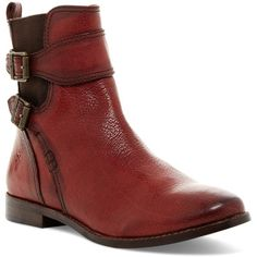 Frye Anna Gore Short Boot ($185) ❤ liked on Polyvore featuring shoes, boots, ankle booties and burnt red