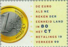 Sello: 1 Euro coin (Holanda) (Introduction of the Euro) Mi:NL 1704,Sn:NL 1019,Yt:NL 1677,Sg:NL 1929,NVP:NL 1809