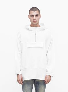 b3b7dddd73f7 profound aesthetic French Terry Anorak Pullover in White  74 Hoodies