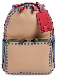 Valentino 'Rockstud' Colorblock Backpack