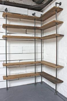 Bespoke Dark Oak Stained Reclaimed Scaffolding Boards and Steel Pipe, Floor and Wall Mounted, Corner Shelving Unit - Its salvaged vintage industrial Corner Shelving Unit, Wall Mounted Corner Shelves, Corner Bookshelves, Wall Shelves, Corner Shelves Living Room, Bookshelf Design, Corner Wall, Pipe Shelves, Floating Shelves