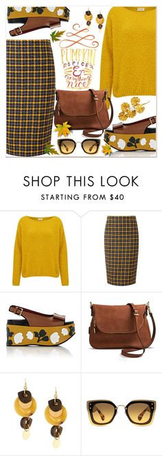 """Pumpkin Spice & Everything Nice"" by razone ❤ liked on Polyvore featuring American Vintage, Pure Collection, Marni, Moda Luxe, Miu Miu and Mario Buccellati"