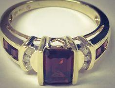 Almandite Garnet Lady's Stone & Diamond Ring 6 Diamonds .06 Carat T.W.