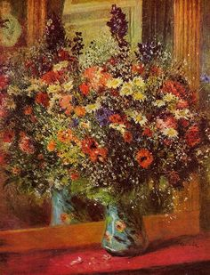 Bouquet in front of a Mirror   -   около 1876-1877. Пьер Огюст Ренуар