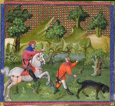 Hunting deer. The valet (apprentice huntsman) with a bloodhound, the master on horseback. Gaston Phebus, Le livre de chasse, early 15th C. BNF MS Français 616, fol. 58v. Bibliotheque nationale, Paris.