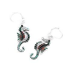 Joji Boutique - enameled silver seahorse leverback earrings