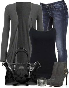 Love the outfit simple but classy... I love the black and gray color combination...