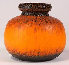 1970s Fat Lava Burnt Orange & Brown West German Scheurich Balloon Vase WGP | eBay