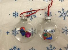 2 Clear Disc Glass Christmas Ornaments With Multicolor Sequin Inside Of The Ornaments. New, Handcrafted. View pictures for details and measurements.