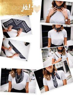 How to Wear Scarves, Scarves and Bandanas Look Fashion, Diy Fashion, Ideias Fashion, Fashion Outfits, Bandana Outfit, Bandana Scarf, How To Wear Bandana, Bandana Styles, Scarf Styles