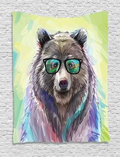 Animal Tapestry by Ambesonne Funny Cool Low Wild Hipster Bear with Spectacles Colorful Portrait Wall Hanging for Bedroom Living Room Dorm 40 W x 60 L Inches Lime Green Blue Gray Purple -- Read more reviews of the product by visiting the link on the image.-It is an affiliate link to Amazon. #Tapestries