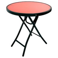 Glass Folding Accent Patio Table Coral