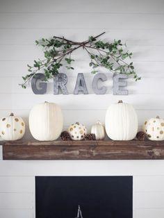 autumn mantle decor ideas, grace mantle decor, decorating for october