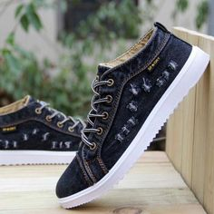 British Style Fashion Vintage Denim Jean Canvas Shoes Men High-top Casual Man Ankle Boots Flat Shoes Usual School Boy Footwear Casual Shoes From Touchy Style Outfit Accessories. Women's Shoes, Denim Shoes, Jeans Denim, Boy Shoes, Black Shoes, Shoes Men, Vans, Converse, Casual Boots