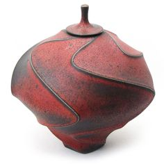 Shop: Red Sandblasted Carved Jar - The Clay Studio
