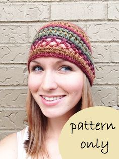 PATTERN PDF  Instant Download  Multi Stitch Crochet Bohemian Beanie  Pattern Only Kids and Adult sizes