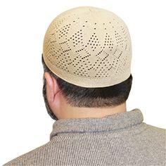 Tan Color Cotton Blend Kufi Muslim Prayer Mens Skull Cap Islamic Hat Knit Topi - 17 to 18 inch