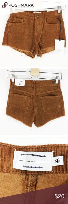 "Kendall & Kylie Corduroy High Rise Shorts C21 Length - Front - 9"" Back - 11"" Front rise - 5""  Size - 22 (XXS) 100% cotton   Condition - new with tags PacSun Shorts"