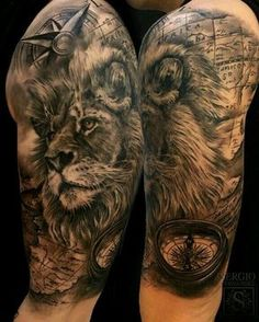 Animal Tattoo Designs are very common among people. Lion Head Tattoos, Leo Tattoos, Bild Tattoos, Animal Tattoos, Future Tattoos, Body Art Tattoos, Tattoos For Guys, Tatoos, Lion Tattoo Sleeves