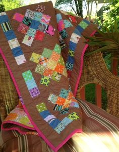 "Granny squares quilt--I'm inspired to finish mine this way.  Mine has 30 squares which finished at 7""."
