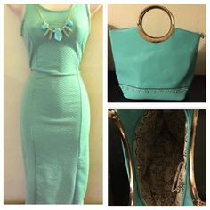 Sexy bodycon dress NWOT and glossy tote Sexy bodycon dress fits very snug NWOT sold together with diamond trim glossy patent tote. Dresses Midi
