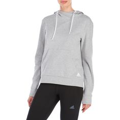 Adidas 24/7/365 Pullover Hoodie ($45) ❤ liked on Polyvore featuring tops, hoodies, grey, pullover hoodie, grey hoodies, grey hooded sweatshirt, sweater pullover and grey pullover