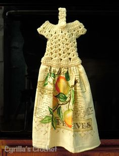 Peaches Crochet Dress Kitchen Towel