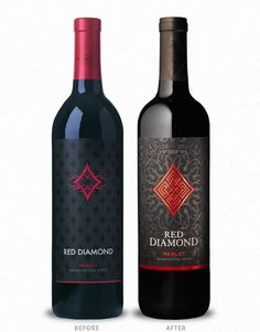 Red Diamond Wine Label and Package Design Before & After by CF Napa Brand Design