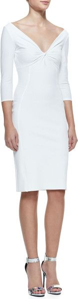 La Petite Robe By Chiara Boni 34sleeve Twist Top Cocktail Dress 070 Bianco - Lyst