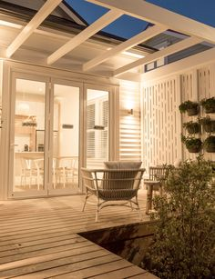Pergola and screening. Take a look inside the winning home from The Block NZ: Villa Wars Deck With Pergola, Backyard Design, Outdoor Rooms, House Exterior, Pergola Designs, Weatherboard House, The Block Nz