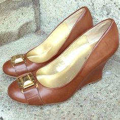 Guess cognac brown wedge sandals Guess tan brown leather wedges with gold guess buckle accent - pre loved but in good condition! Guess Shoes Wedges