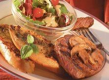 Sensational Steaks, Mushrooms, and Pesto Toast With Tuscan Salad
