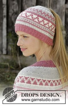 Hint of Heather Hat - Knitted hat in DROPS Nord. Piece is knitted bottom up in garter stitch, mosaic pattern and opening for ponytail. - Free pattern by DROPS Design Beanie Knitting Patterns Free, Easy Knitting, Crochet Patterns, Drops Design, Knitted Headband, Knitted Hats, Easy Knit Hat, Knit Crochet, Crochet Hats