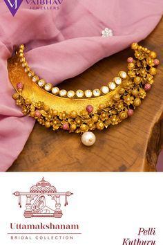 Presenting Antique Kundan Choker to augment the beautiful you with a wonderful tinge of gold and glamour exclusive for your UttamaKshanam. Gold Temple Jewellery, Gold Jewellery Design, Bridal Jewellery, Gold Jewelry, Jewelery, Unique Jewelry, Gold Choker, Gold Necklace, Choker Necklace Online