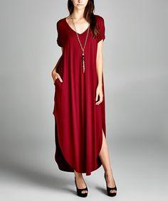 $39.99 Another great find on #zulily! Burgundy Pocket Maxi Dress #zulilyfinds