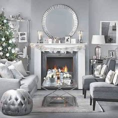 Need traditional living room DIY home decorating ideas? Take a look at this silver and grey Christmas living room from Ideal Home for inspiration. ** More details can be found by clicking on the image. Silver Living Room, Living Room Grey, Living Room Interior, Home Living Room, Living Room Designs, Silver Room, Apartment Living, Grey Room, Cozy Living