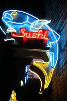 Sushi in neon lights