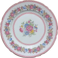 This Shelley Bone China Pompadour Pink Floral Salad Plate is perfect for a backyard wedding, a vintage garden party, or your Shabby Chic  decor!