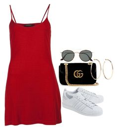 """#Style"" by rosana-storyofmylife ❤ liked on Polyvore featuring Calvin Klein, Gucci, Jennifer Fisher, Ray-Ban and adidas Originals"