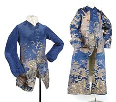 A FINE AND RARE GENTLEMAN'S BANYAN AND WAISTCOAT, MADE UP FROM A DRAGON ROBE 18TH CENTURY The deep blue silk woven with large gilt dragon; together with a matching long-sleeved waistcoat.