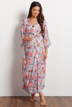Grey Floral Long Dressing Robe