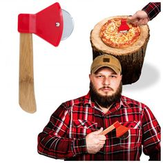 Axe Pizza Cutter Ax Shaped Wheel Slicer Wooden Chef Gift Kitchen Sharp Tool Gift