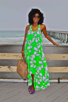 DVF Printed High-low Silk Dress. Change out those purple heels to comfy flat sandals and the outfit is perfect.