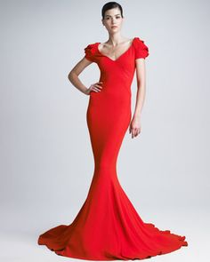 Stretch Crepe Mermaid Gown by Zac Posen at Neiman Marcus.